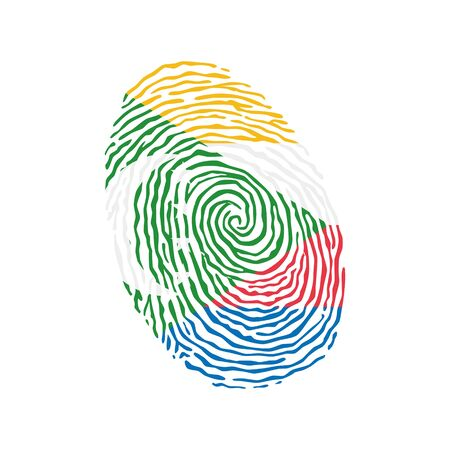Fingerprint vector colored with the national flag of Comoros