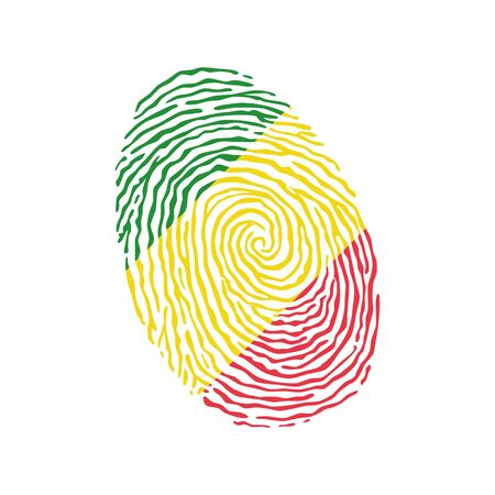 Fingerprint vector colored with the national flag of Congo