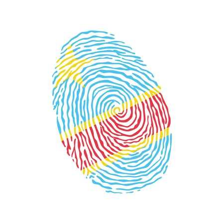 Fingerprint vector colored with the national flag of Democratic Republic of Congo