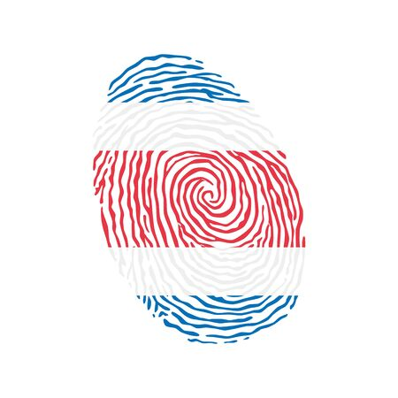 Fingerprint vector colored with the national flag of Costa Rica