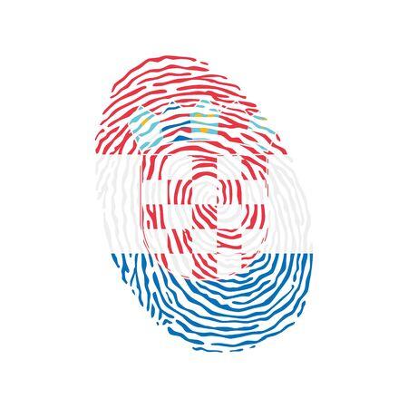 Fingerprint vector colored with the national flag of Croatia Ilustração
