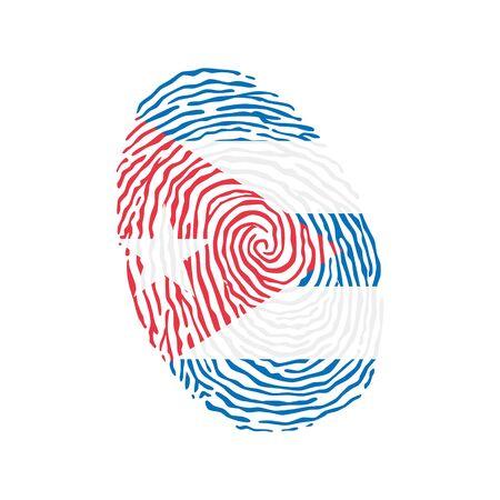 Fingerprint vector colored with the national flag of Cuba Ilustração