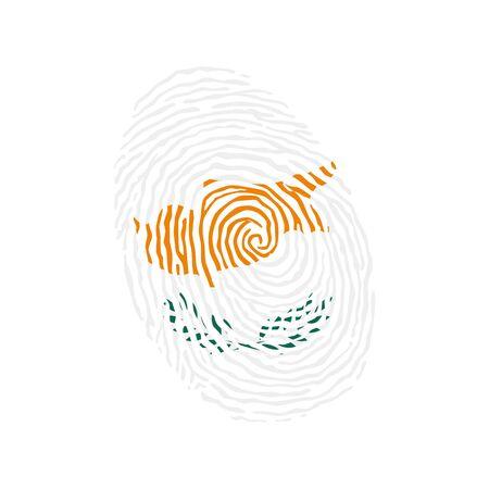 Fingerprint vector colored with the national flag of Cyprus Ilustração