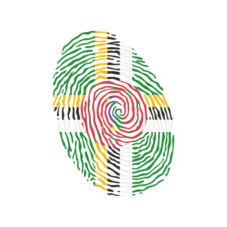 Fingerprint vector colored with the national flag of Dominica