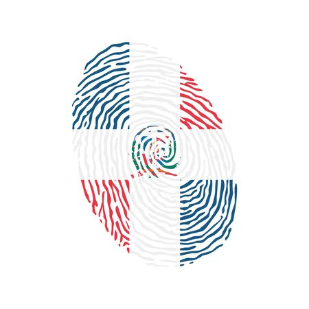 Fingerprint vector colored with the national flag of Dominican Republic Ilustração