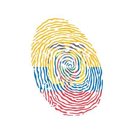 Fingerprint vector colored with the national flag of Ecuador Ilustração