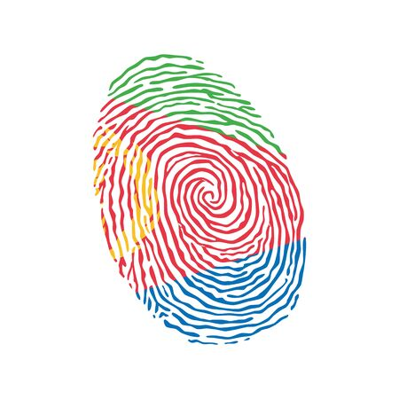 Fingerprint vector colored with the national flag of Eritrea