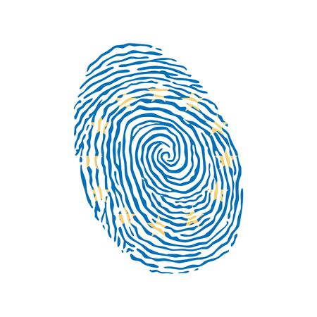 Fingerprint vector colored with the flag of the European Union
