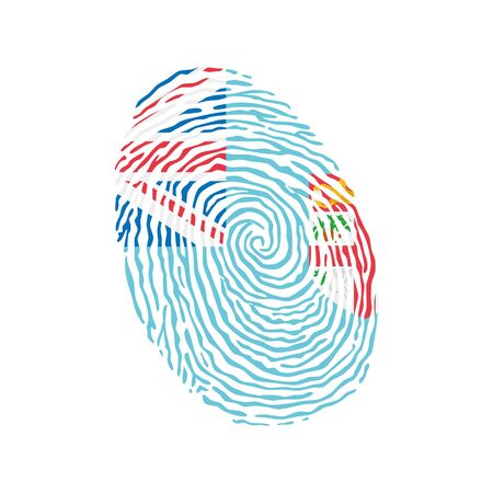 Fingerprint vector colored with the national flag of Fiji