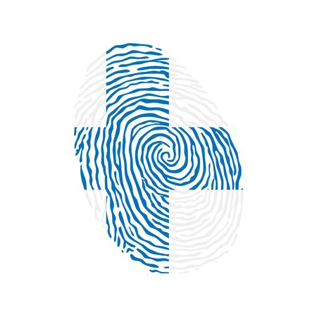 Fingerprint vector colored with the national flag of Finland