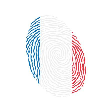 Fingerprint vector colored with the national flag of France