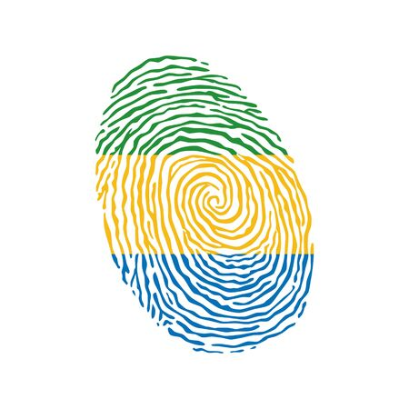 Fingerprint vector colored with the national flag of Gabon