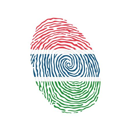 Fingerprint vector colored with the national flag of Gambia