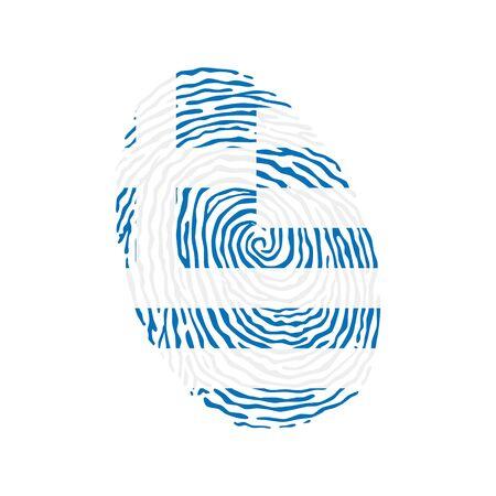 Fingerabdruckvektor gefärbt mit der Nationalflagge Griechenlands