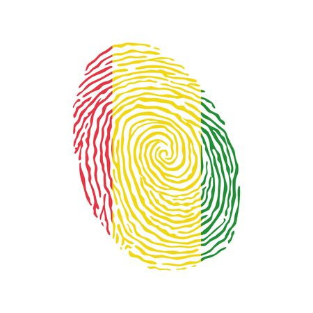 Fingerprint vector colored with the national flag of Guinea
