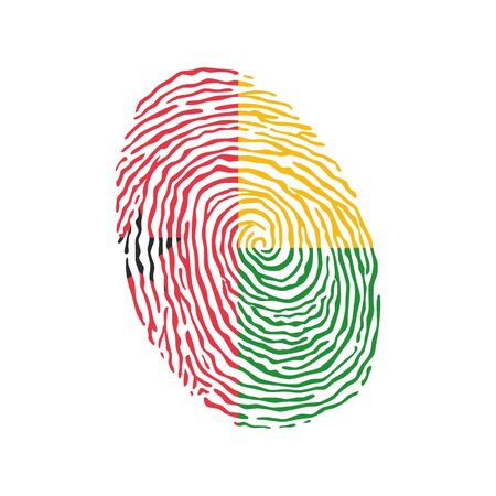 Fingerprint vector colored with the national flag of Guinea Bissau