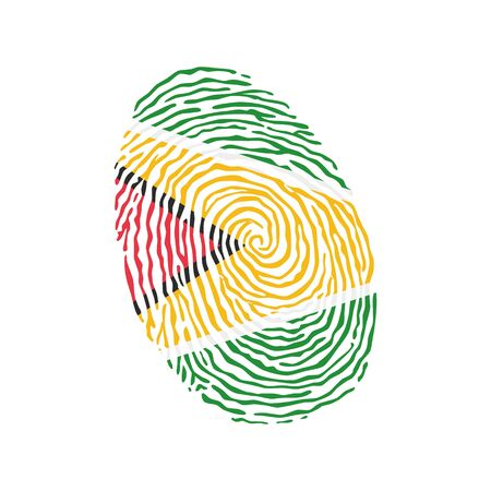 Fingerprint vector colored with the national flag of Guyana