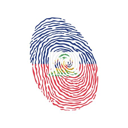 Fingerprint vector colored with the national flag of Haiti