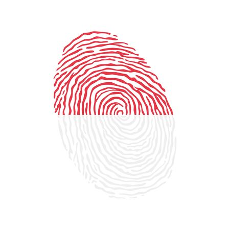 Fingerprint vector colored with the national flag of Indonesia  일러스트