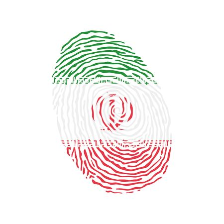 Fingerprint vector colored with the national flag of Iran