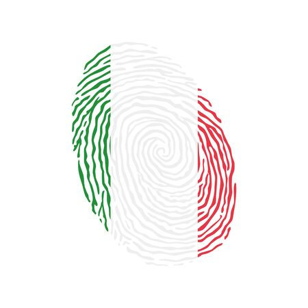 Fingerprint vector colored with the national flag of Italy Ilustração