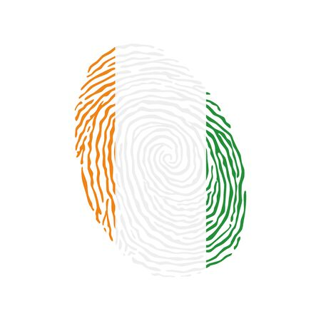 Fingerprint vector colored with the national flag of Ivory Coast