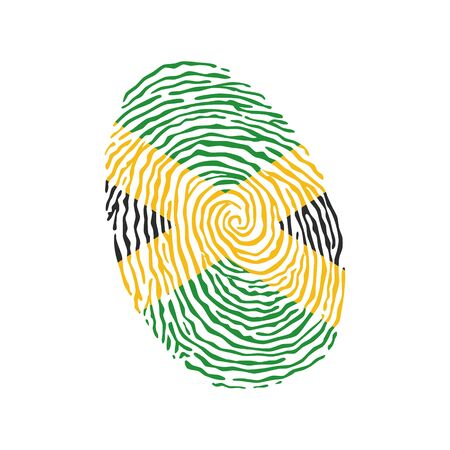 Fingerprint vector colored with the national flag of Jamaica