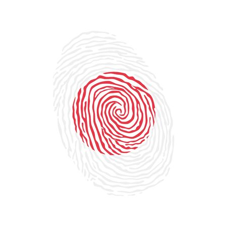 Fingerprint vector colored with the national flag of Japan