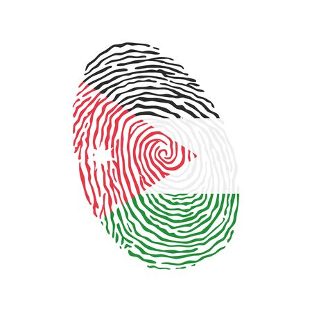 Fingerprint vector colored with the national flag of Jordan