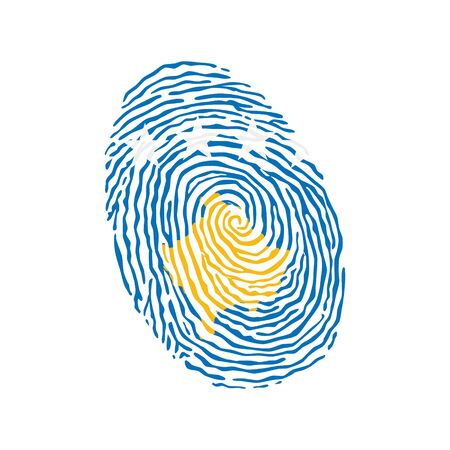 Fingerprint vector colored with the national flag of Kosovo