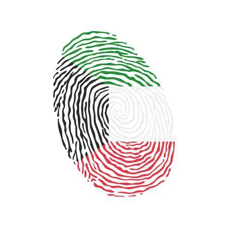 Vecteur d'empreintes digitales coloré avec le drapeau national du Koweït