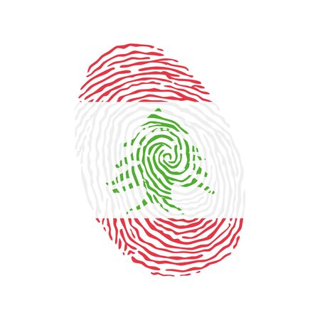 Fingerprint vector colored with the national flag of Lebanon