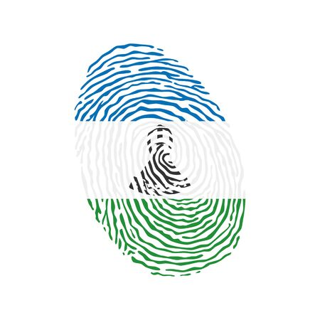 Fingerprint vector colored with the national flag of Lesotho