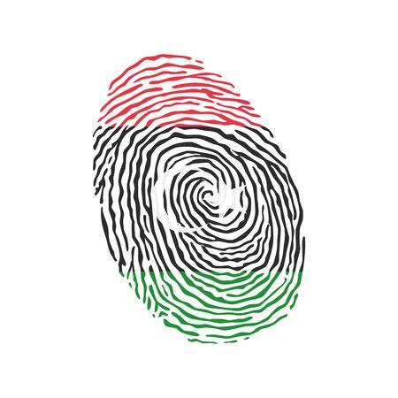 Vector de huellas dactilares coloreadas con la bandera nacional de Libia