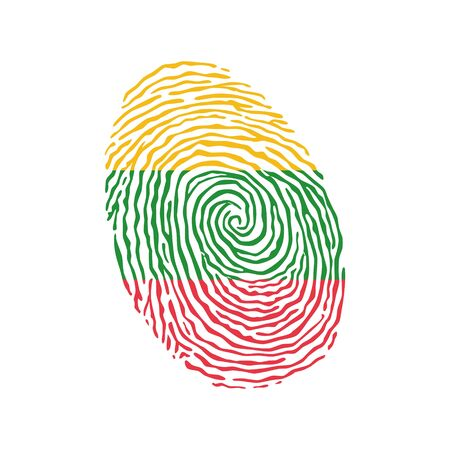 Fingerprint vector colored with the national flag of Lithuania