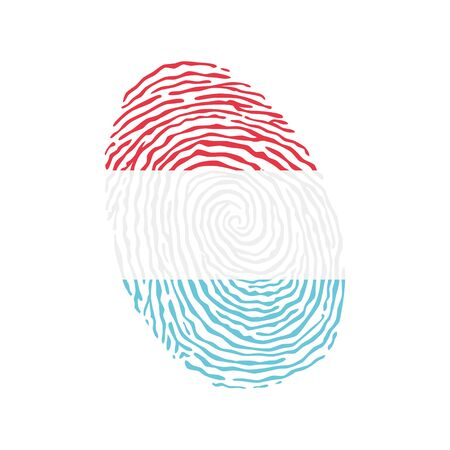 Fingerprint vector colored with the national flag of Luxembourg Ilustração