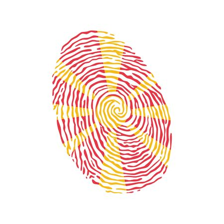 Fingerprint vector colored with the national flag of Macedonia