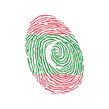 Fingerprint vector colored with the national flag of Maldives