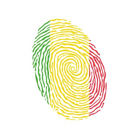 Fingerprint vector colored with the national flag of Mali