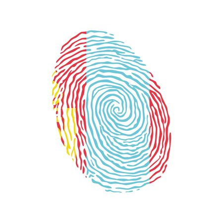 Fingerprint vector colored with the national flag of Mongolia 矢量图像