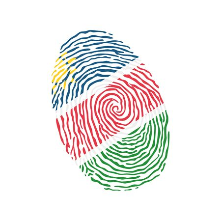 Fingerprint vector colored with the national flag of Namibia