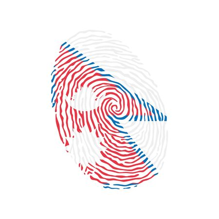 Fingerprint vector colored with the national flag of Nepal  イラスト・ベクター素材