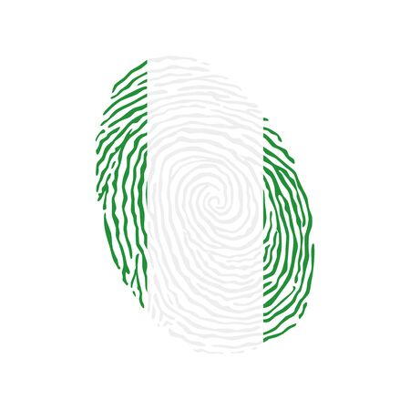 Fingerprint vector colored with the national flag of Nigeria