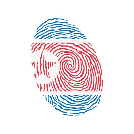 Fingerprint vector colored with the national flag of North Korea