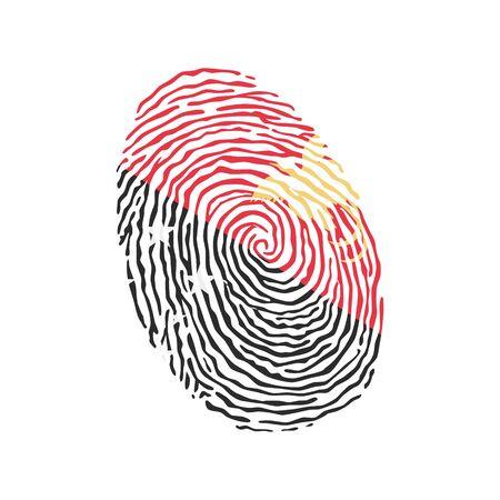 Fingerprint vector colored with the national flag of Papua New Guinea Ilustração