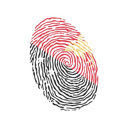 Fingerprint vector colored with the national flag of Papua New Guinea Illustration