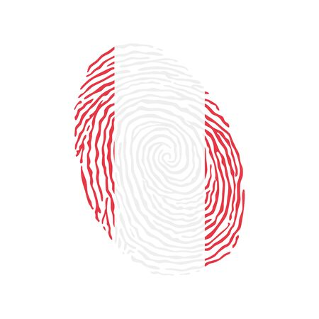 Fingerprint vector colored with the national flag of Peru