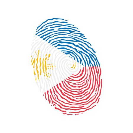 Fingerprint vector colored with the national flag of Philippines Ilustração