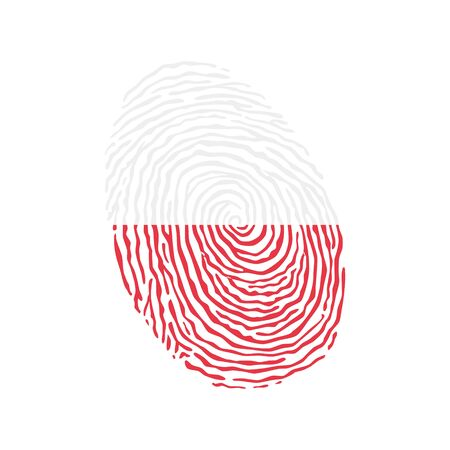 Fingerprint vector colored with the national flag of Poland