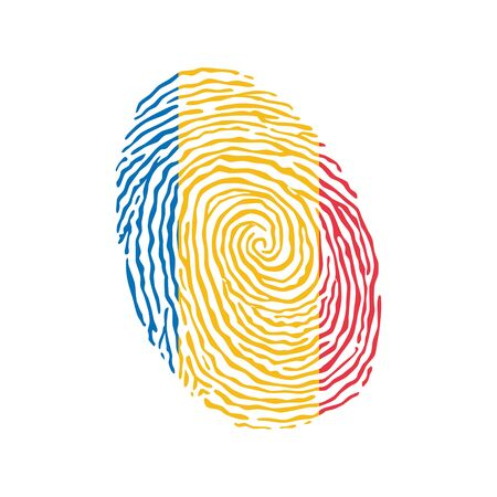 Fingerprint vector colored with the national flag of Romania